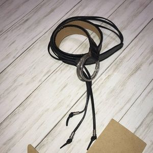 Brighton leather belt with tassels double ring xl